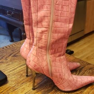 Pink Leather Snake Boots